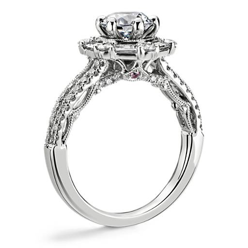 Monique Lhuillier Hexagon Halo Diamond Engagement Ring