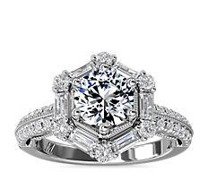 Monique Lhuillier Hexagon Halo Diamond Engagement Ring in Platinum (5/8 ct. tw.)