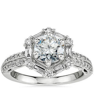 NEW Monique Lhuillier Hexagon Halo Diamond Engagement Ring in Platinum