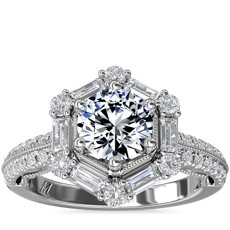 Monique Lhuillier Hexagon Halo Diamond Engagement Ring in Platinum