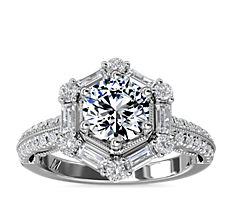 Monique Lhuillier Hexagon Halo Diamond Engagement Ring in Platinum (5/8 ct. tw.)