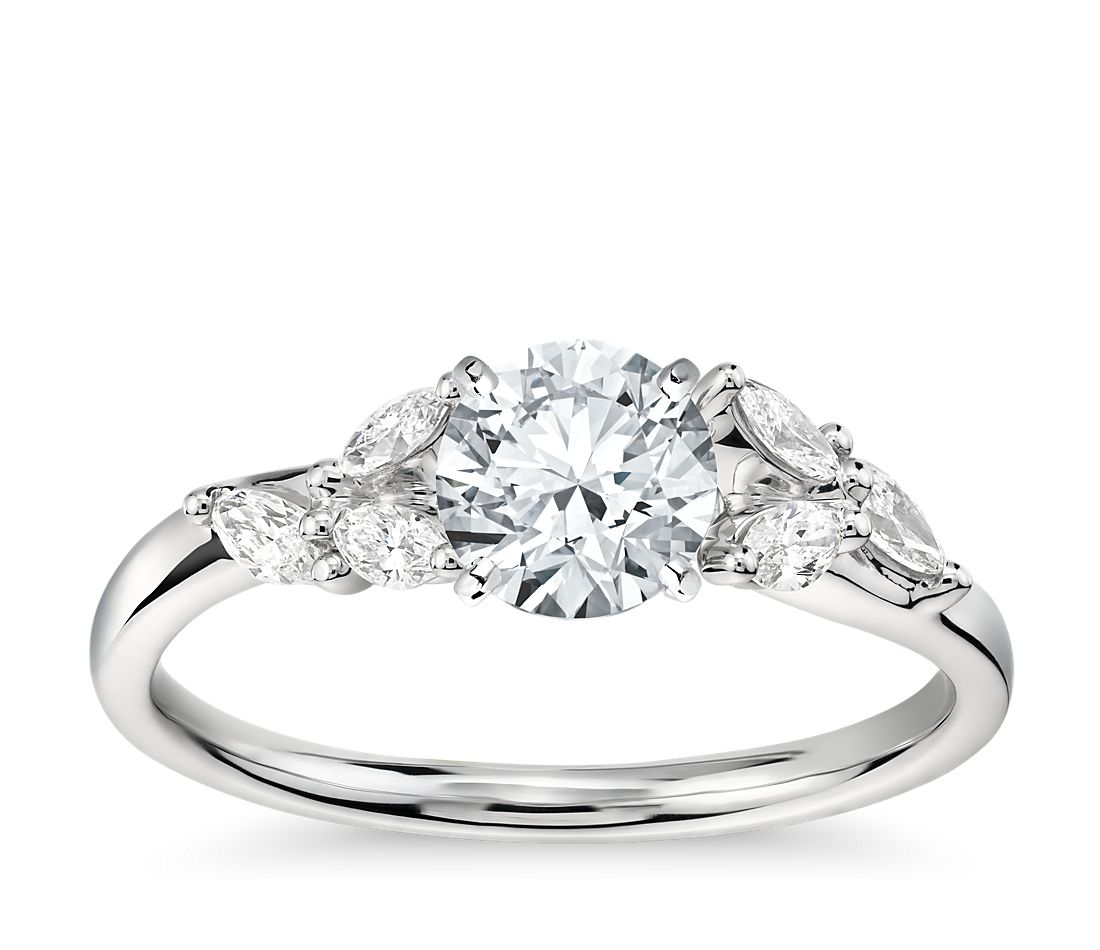 monique lhuillier jardin diamond engagement ring in platinum 14 ct tw - Wedding Ringscom