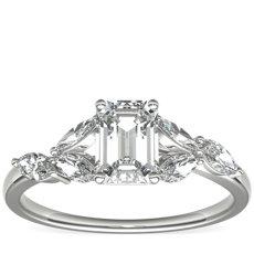 Bague de fiançailles diamant Jardin Monique Lhuillier en platine (1/4carat, poids total)
