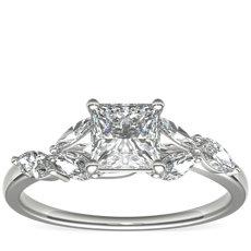 鉑金 Monique Lhuillier Jardin 鑽石訂婚戒指(1/4 克拉總重量)