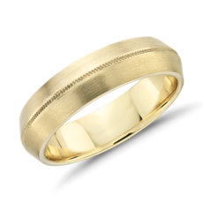 Monique Lhuillier Knife Edge Milgrain Wedding Ring in 18k Yellow Gold (6mm)