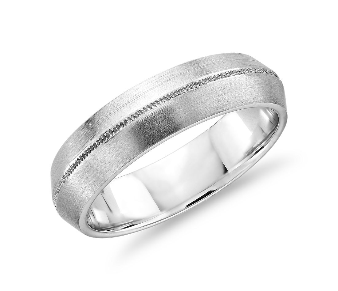 Monique Lhuillier Knife Edge Milgrain Wedding Ring in Platinum (6mm)