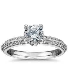 Monique Lhuillier Knife-Edge Petal Pave Diamond Engagement Ring in Platinum (1/4 ct. tw.)