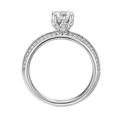 Monique Lhuillier Knife-Edge Petal Pave Diamond Engagement Ring