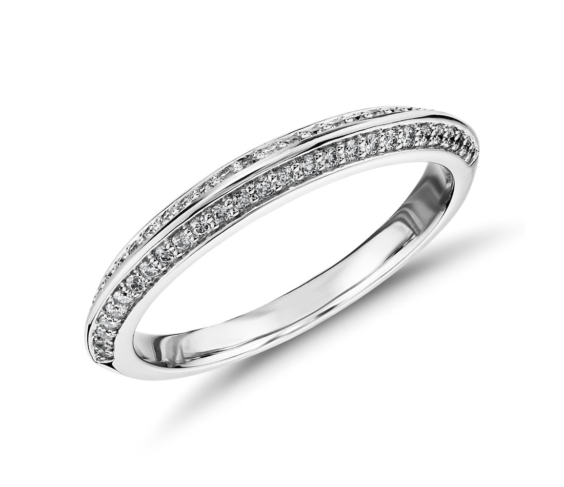 Monique Lhuillier Knife Edge Petal Diamond Ring in Platinum