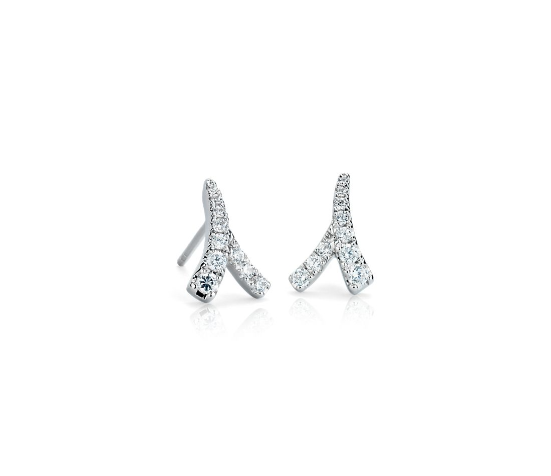 Boucles d'oreilles diamant Laurel de Monique Lhuillier en or blanc 18 carats
