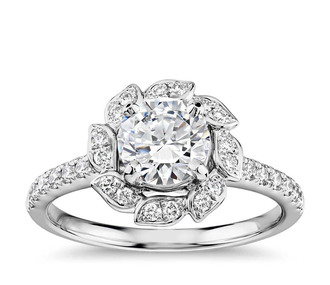 Monique Lhuillier Leaf Halo Diamond Engagement Ring