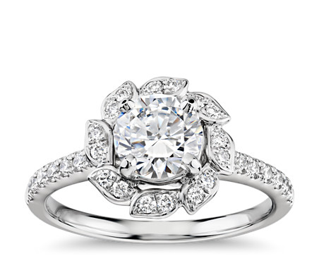 Monique Lhuillier Leaf Halo Diamond Engagement Ring in Platinum (3/8 ct. tw.)