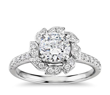 Bague de fiançailles feuille avec halo de diamants Monique Lhuillier en platine (3/8carats, poids total)
