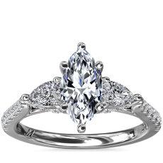 NEW Monique Lhuillier Tresor Marquise Cut Diamond Engagement Ring with Profile Details in Platinum (3/4 ct. tw.)