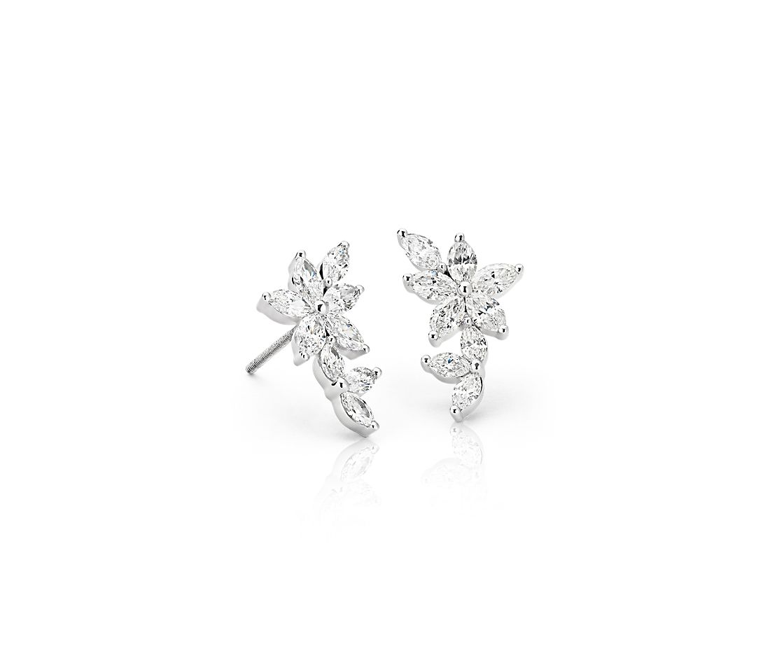 Monique Lhuillier Etoile Marquise Diamond Ear Climbers in 18k White Gold