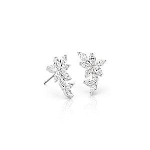 Aretes de diamante de talla marquesa Etoile de Monique Lhuillier en oro blanco de 18 k (1,5 qt. total)