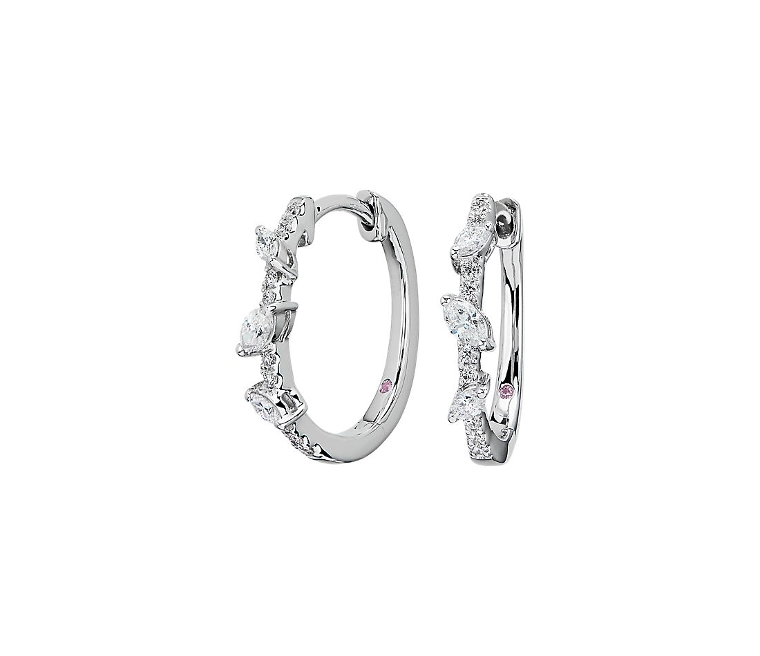 Monique Lhuillier Marquise and Round Cut Diamond Leaf Hoop Earrings in 18k White Gold (1/2 ct. tw.)
