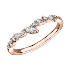 Monique Lhuillier Marquise Diamond Leaf Curved Band in 18k Rose Gold