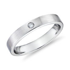 Monique Lhuillier Matte Single Diamond Wedding Band in Platinum (4mm)