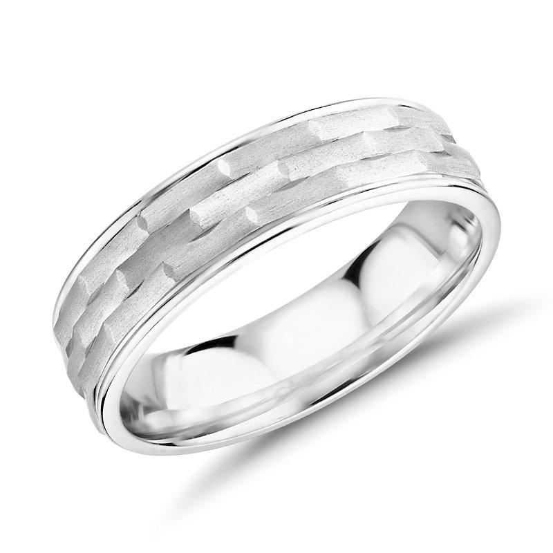 Monique Lhuillier Matte Textured Engraved Wedding Band 18k White