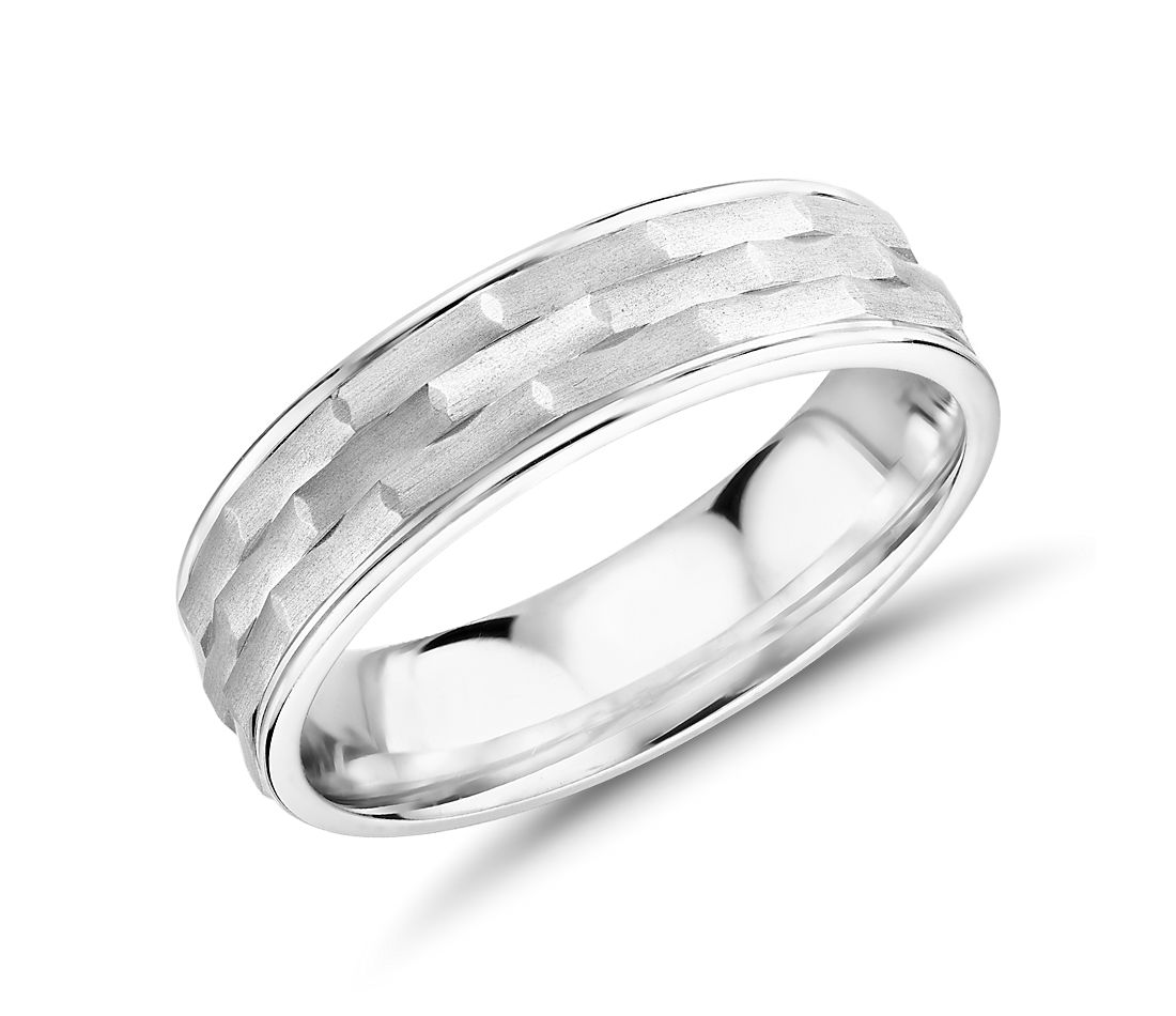 Monique Lhuillier Matte Textured Engraved Wedding Band 18k White Gold (6mm)
