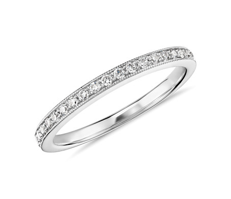 Monique Lhuillier Milgrain Diamond Ring in Platinum