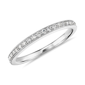 Anillo de diamantes milgrain de Monique Lhuillier en platino (1/4 qt. total)