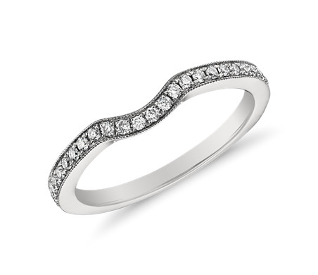 Monique Lhuillier Milgrain Diamond Ring in Platinum (1/6 ct. tw.)