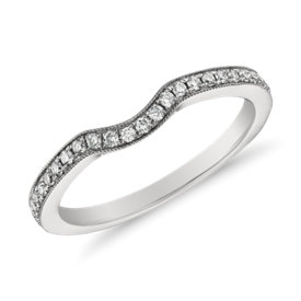 Anillo de diamantes milgrain de Monique Lhuillier en platino (1/6 qt. total)