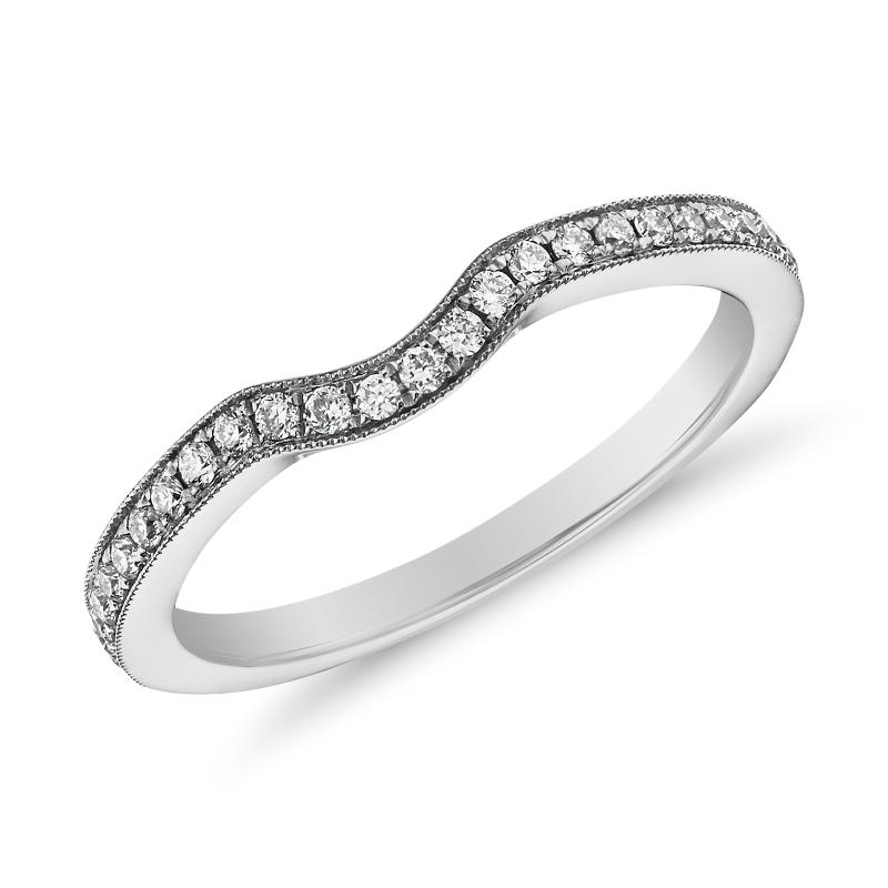 Monique Lhuillier Milgrain Diamond Ring in Platinum (1/6 ct. tw.)