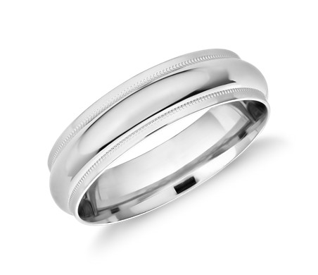 Monique Lhuillier Milgrain Edge Band in Platinum (6mm)