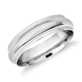 NEW Monique Lhuillier Milgrain Edge Band in Platinum (6mm)