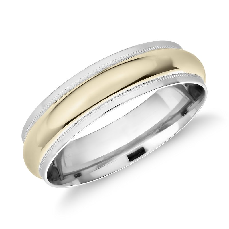 Milgrain Edge Two-Tone Band in Platinum and 18k Yellow Gold (6mm)
