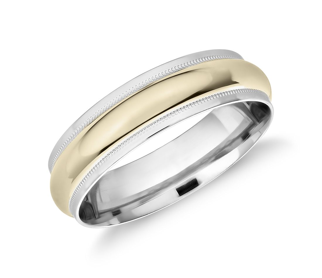 Monique Lhuillier Milgrain Edge Two-Tone Band in Platinum and 18k Yellow Gold (6mm)