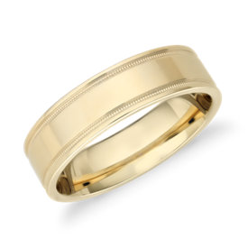 NEW Monique Lhuillier Milgrain Inlay Polished Band in 18k Yellow Gold (6mm)