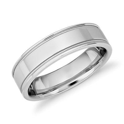 铂金 Monique Lhuillier 锯状滚边嵌入式抛光戒指<br>(6毫米)