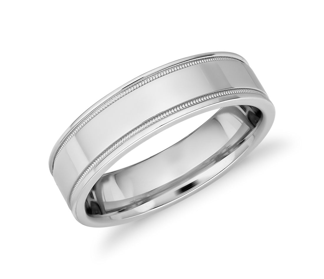 Monique Lhuillier Milgrain Inlay Polished Band in Platinum (6mm)