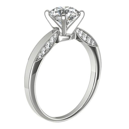 Monique Lhuillier Milgrain Solitaire Diamond Engagement Ring