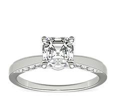Monique Lhuillier Milgrain Solitaire Diamond Engagement Ring in Platinum (1/6 ct. tw.)