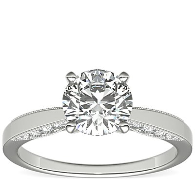 Monique Lhuillier Milgrain Solitaire Diamond Engagement Ring in Platinum (1/6 ct. tw.)