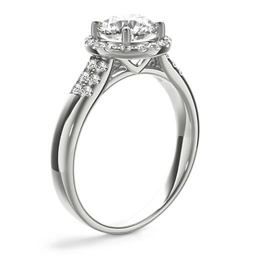 Monique Lhuillier Modern Pave Halo Engagement Ring