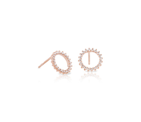 Monique Lhuillier Starburst Stud Earrings in 18k Rose Gold (1/5 ct. tw.)