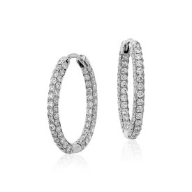 Monique Lhuillier Oval Diamond Hoop Earrings in 18k White Gold (1.83ct tw)