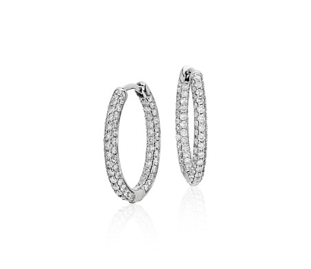 Monique Lhuillier Petite Oval Diamond Hoop Earrings in 18k White Gold