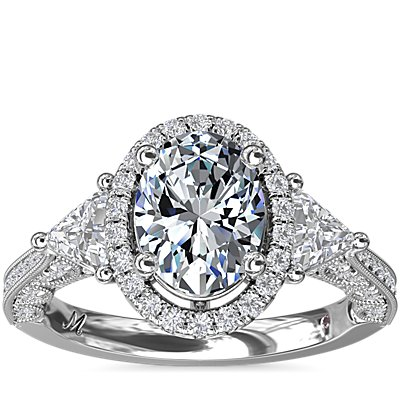 Monique Lhuillier Oval Halo with Trillion Sidestones in Platinum (5/8 ct. tw.)