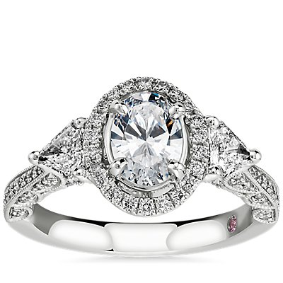 NEW Monique Lhuillier Oval Halo with Trillion Sidestones in Platinum