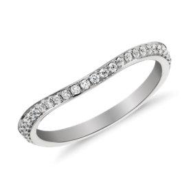 Monique Lhuillier Curved Pavé Diamond Ring in Platinum (1/8 ct. tw.)