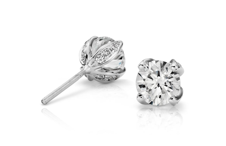 Boucles d'oreilles diamant pétale pavé en platine (1,50carats, poids total)