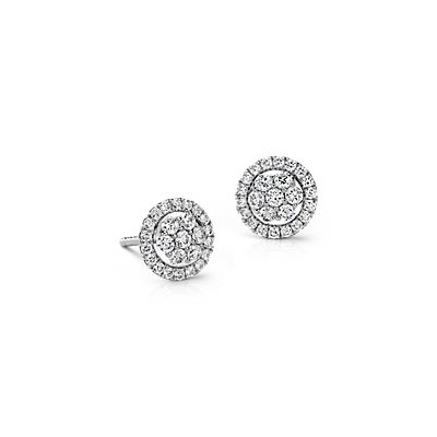 Monique Lhuillier Floral Diamond Earrings in 18k White Gold (1/2 ct. tw.)