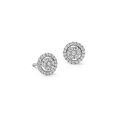 18k 白金 Monique Lhuillier 花卉钻石耳环<br>(1/2 克拉总重量)